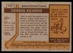 1973 Topps #173  Dennis Kearns   Back Thumbnail