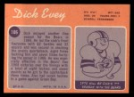 1970 Topps #106  Dick Evey  Back Thumbnail