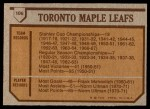 1973 Topps #106   Toronto Maple Leafs Team Back Thumbnail