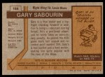 1973 Topps #184  Gary Sabourin   Back Thumbnail
