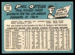 1965 Topps #152  Phil Ortega  Back Thumbnail