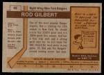 1973 Topps #88  Rod Gilbert   Back Thumbnail