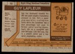 1973 Topps #72  Guy Lafleur   Back Thumbnail