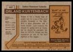 1973 Topps #157  Orland Kurtenbach   Back Thumbnail