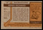 1973 Topps #87  Henri Richard   Back Thumbnail