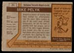 1973 Topps #71  Mike Pelyk   Back Thumbnail
