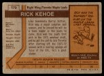 1973 Topps #179  Rick Kehoe   Back Thumbnail