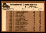 1975 O-Pee-Chee NHL #90   Canadiens Team Checklist Back Thumbnail