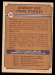 1974 O-Pee-Chee NHL #250   Stanley Cup Back Thumbnail