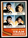 1974 O-Pee-Chee NHL #28   -  Phil Esposito / Bobby Orr / Johnny Bucyk Bruins Leaders Front Thumbnail