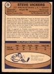1974 O-Pee-Chee NHL #29  Steve Vickers  Back Thumbnail