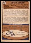 1974 O-Pee-Chee NHL #160  Ed Giacomin  Back Thumbnail