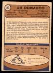 1974 O-Pee-Chee NHL #89  Ab DeMarco  Back Thumbnail