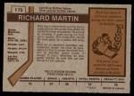 1973 O-Pee-Chee #173  Richard Martin  Back Thumbnail
