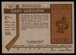 1973 O-Pee-Chee #168  Gary Sabourin  Back Thumbnail