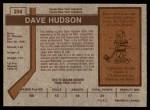 1973 O-Pee-Chee #234  Dave Hudson  Back Thumbnail