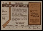 1973 O-Pee-Chee #216  Darryl Edestrand  Back Thumbnail