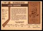 1973 O-Pee-Chee #246  Lou Nanne  Back Thumbnail