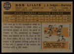 1960 Topps #354  Bob Lillis  Back Thumbnail
