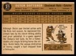 1960 Topps #21  Dutch Dotterer  Back Thumbnail