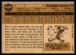 1960 Topps #409  Ron Samford  Back Thumbnail
