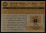 1960 Topps #308  Dick Hall  Back Thumbnail