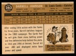 1960 Topps #263  Darrell Johnson  Back Thumbnail
