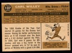 1960 Topps #107  Carlton Willey  Back Thumbnail