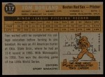 1960 Topps #117   -  Tom Borland Rookie Star Back Thumbnail