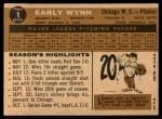 1960 Topps #1  Early Wynn  Back Thumbnail