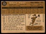 1960 Topps #13  Wally Post  Back Thumbnail