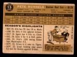 1960 Topps #15  Pete Runnels  Back Thumbnail