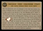 1960 Topps #457   -  Charlie Root / Lou Klein / Elvin Tappe Cubs Coaches Back Thumbnail