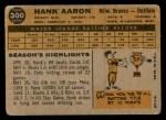 1960 Topps #300  Hank Aaron  Back Thumbnail