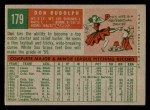 1959 Topps #179  Don Rudolph  Back Thumbnail
