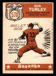 1959 Topps #570   -  Bob Turley All-Star Back Thumbnail