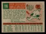 1959 Topps #116  Bob Allison  Back Thumbnail