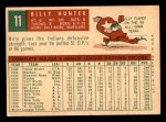 1959 Topps #11  Billy Hunter  Back Thumbnail