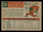 1959 Topps #215  Jim Lemon  Back Thumbnail