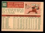 1959 Topps #103  Billy Goodman  Back Thumbnail