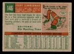1959 Topps #146  Jerry Zimmerman  Back Thumbnail