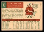 1959 Topps #13  Dick Gernert  Back Thumbnail