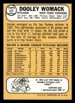 1968 Topps #431  Dooley Womack  Back Thumbnail