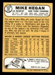 1968 Topps #402  Mike Hegan  Back Thumbnail