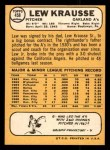 1968 Topps #458  Lew Krausse  Back Thumbnail