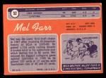 1970 Topps #52  Mel Farr  Back Thumbnail
