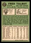 1967 Topps #517  Fred Talbot  Back Thumbnail