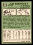1967 Topps #565  Lew Krausse  Back Thumbnail