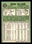 1967 Topps #133  Ron Kline  Back Thumbnail