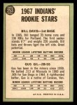 1967 Topps #253   -  Bill Davis / Gus Gil Indians Rookies Back Thumbnail